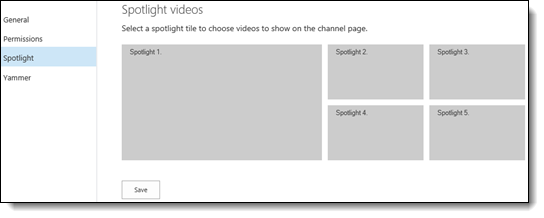 Video channel settings page - spotlight