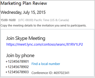 Skype for business web scheduler office support sample screen showing meeting details stopboris