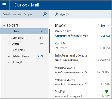 Primary Outlook.com or Hotmail.com screen