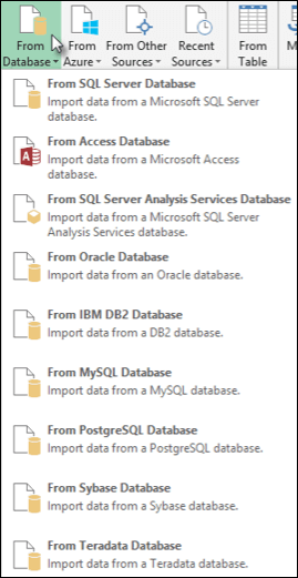 Get data From Database dialog