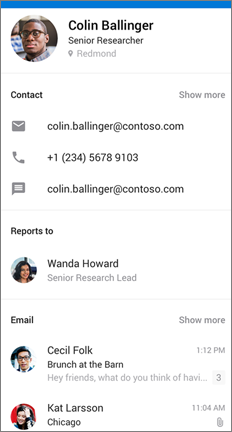 People card showing contact info, reporting structure, and recent emails