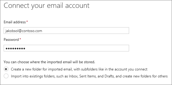 Enter the email address and password of the account you want to connect.