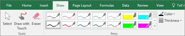 Shows the Draw tab in Excel 2016.