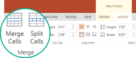Under Table Tools, on the Layout tab, in the Merge group, select Merge Cells.