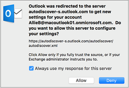 This redirect message might appear when you're setting up your first Exchange account in Outlook