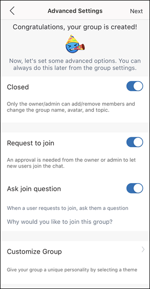 The Request to join options in a new group setup
