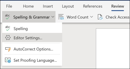 A screenshot of the Editor Settings option in Word Online