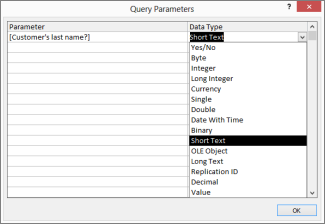 Pasting the question into Query Parameter dialog box