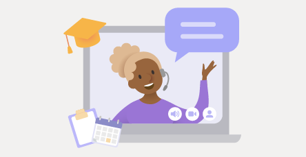 Illustrated person giving a webinar