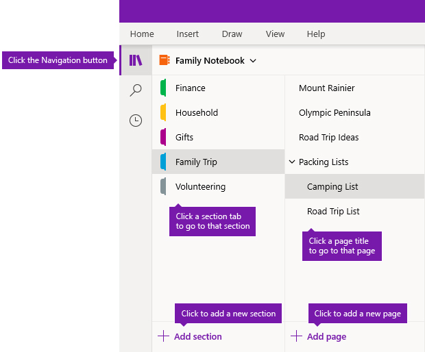 Sections and pages in OneNote for Windows 10