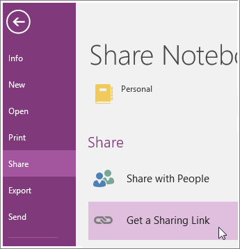 Screenshot of the Get Sharing Link UI in OneNote 2016.