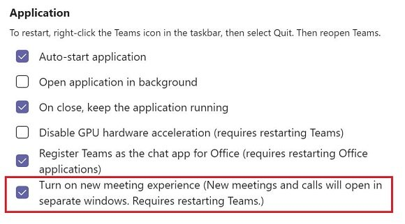 New meeting experience setting in Teams