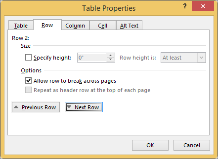 Row tab in the Table Properties dialog box