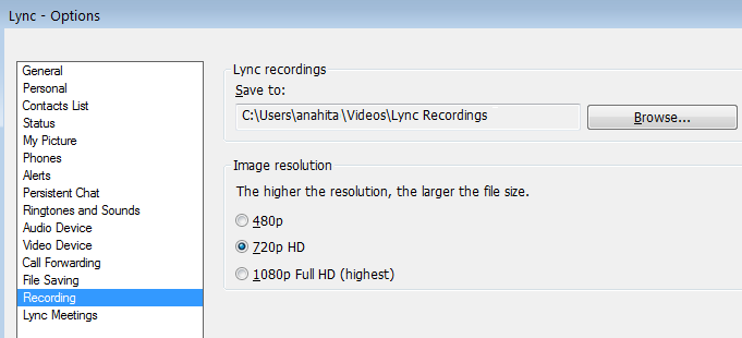 Screen shot of recording resolution and location