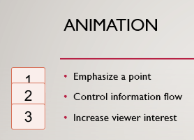 Numerals on the left, enclosed in boxes, indicate the presence of animation on the slide.