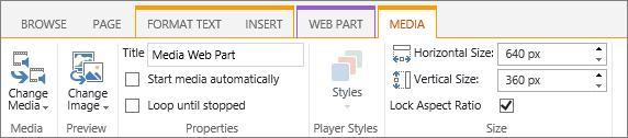 Media tab on edit ribbon