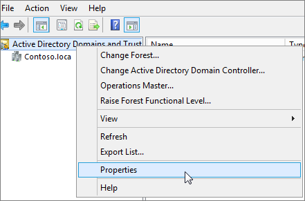 Right-click ActiveDirectory Domains and Trusts and choose Properties