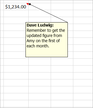 "Cell with $1,234.00, and an oOlder, legacy comment attached: ""Dave Ludwig: Is this figure correct?"""