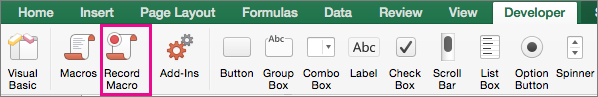 Use the Developer tab to create or delete a macro in Excel