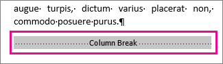 "selecting a column break with ""Show Formatting"" turned on"