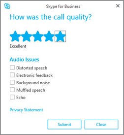 Screen shot of the call quality rating dialog