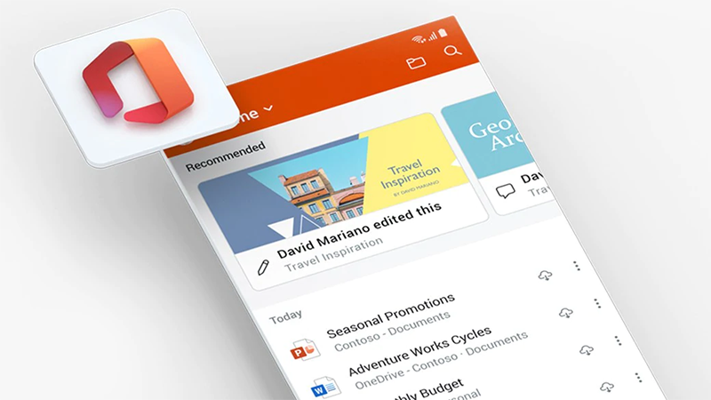 Office app screen on a mobile phone