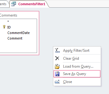 Context menu in Advanced Filter/Sort