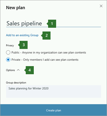 "Screen shot of the Planner New plan dialog box showing callouts for 1 name entered ""Sales pipeline"", 2 option to ""Add to an existing Office 365 Group"", 3 Privacy options, and 4 Options drop-down."