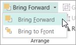 Selecting Bring Forward on the Bring Forward menu