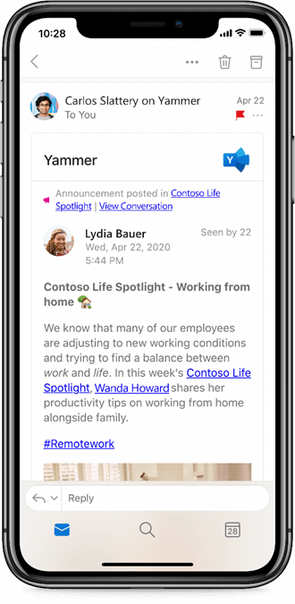 Working with Yammer from Outlook mobile apps