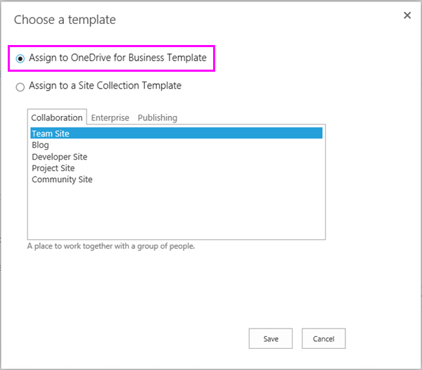 Assign to OneDrive for Business Template option