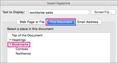 The Insert Hyperlink dialog box with the This Document tab and Bookmarks highlighted.