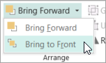Selecting Bring to Front on the Bring Forward menu