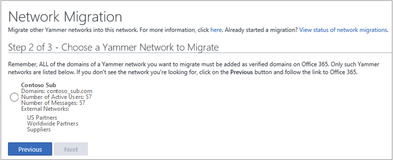 Screen shot of Step 2 of 3 - Choose a Yammer Network to Migrate
