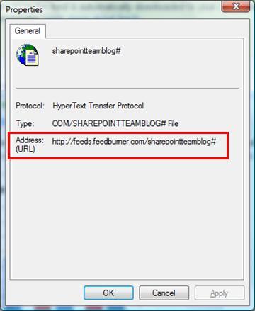 RSS feed properties dialog box