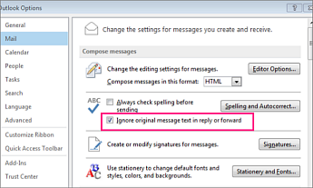 option setting to ignore checking spelling for original text in reply and forwarded messages