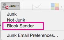 The Block Sender option is highlighted on the Junk list.