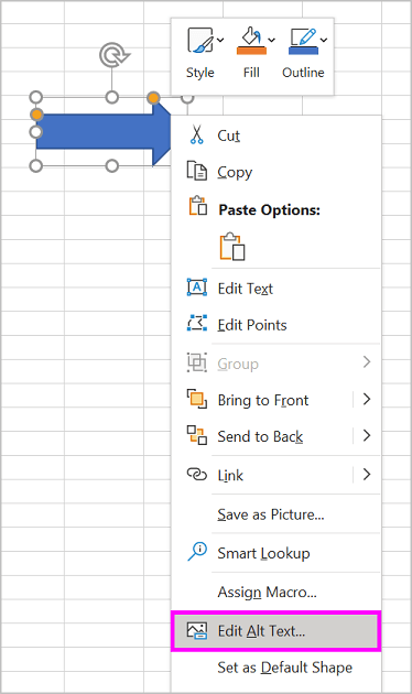 Edit Alt Text option in the right-click menu for an arrow shape
