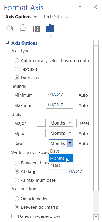 The Format Axis pane with Date axis and Base units selected
