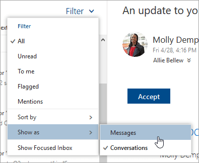 Change how email is displayed in Outlook on the web - Office