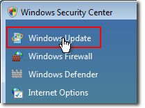 Select Start > Control Panel > Security > Security Center > Windows Update in Windows Security Center.