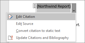 The available options under a citation are shown