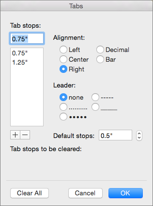 Tabs dialog box
