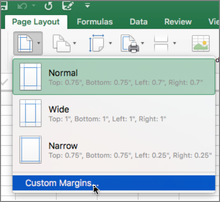Set page margins - Excel for Mac