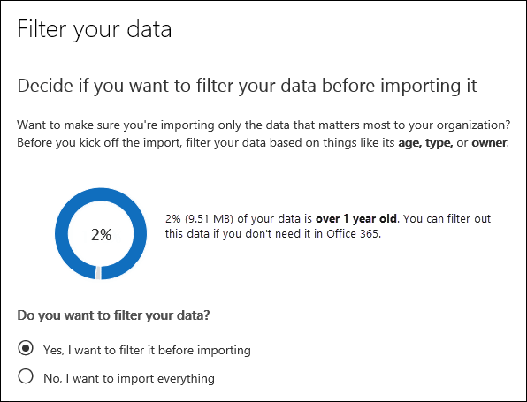 The Filter your data page shows data insights of the PST files for the import job