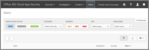On the Alerts page, you can see alerts that were triggered and any actions taken.