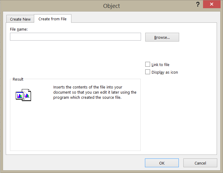 "The ""Create from File"" tab on the Object dialog box."