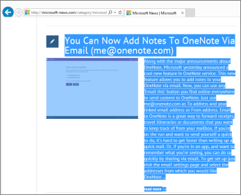 Screenshot showing part of a web page selected to copy.