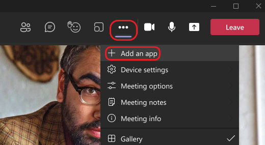 Image shows how to add an app during a Teams meeting.