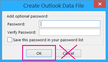 When you create a pst file, click Ok even if you don't want to assign a password to it